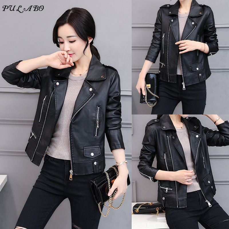 Spring Autumn Women PU Short Jackets Motorcycle Leather Jacket Solid Casual Coat Streetwear