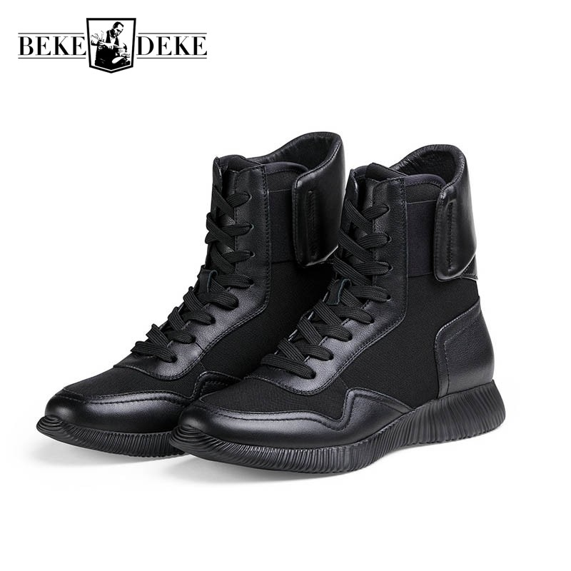 High Quality Mens Genuine Leather Military Combat Boots High Top Army Safety Shoes Lace Up Antiskid Man Footwear Casual Zapatos fashion genuine leather mens ankle boots pointed toe lace up wedding dress shoes safety shoes men military boots mans footwear