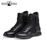 High Quality Mens Genuine Leather Military Combat Boots High Top Army Safety Shoes Lace Up Antiskid Man Footwear Casual Zapatos