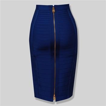 12 Colors Sexy Solid Zipper Orange Blue Black Bandage Skirt Women Elastic Bodycon Summer Plus Size XL XXL Pencil Skirts 58cm 1