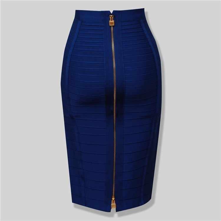 12 kleuren Sexy Solid Rits Oranje Blauw Zwart Bandage Rok Vrouwen Elastische Bodycon Zomer Plus Size XL XXL Potlood Rokken 58cm