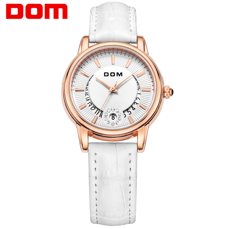 DOM reloj mujer Fashion Casual Watches Ladies Luxury Brand Leather Strap Display Date Quartz-Watch Women clock G-1698GL-7M new design square women watches rebirth popular brand fashion casual ladies watch quartz clock grey wristwatches reloj mujer
