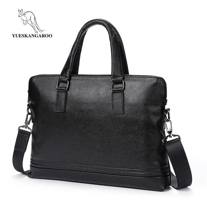 YUESKANGAROO Fashion Men Genuine Leather Briefcases Bag Famous Brand Shoulder Messenger Bags Causal Handbag Laptop Bag Male 9178 feger 2018 new fashion genuine leather men bag famous brand shoulder bag messenger bags causal handbag laptop briefcase male