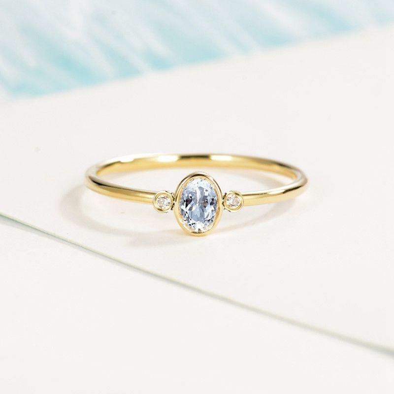 SOLID 14 К кольцо из желтого золота 4x6 мм овальной огранки природных Аквамарин бриллианты Для женщин Обручение обручальное кольцо Мода ювелирн