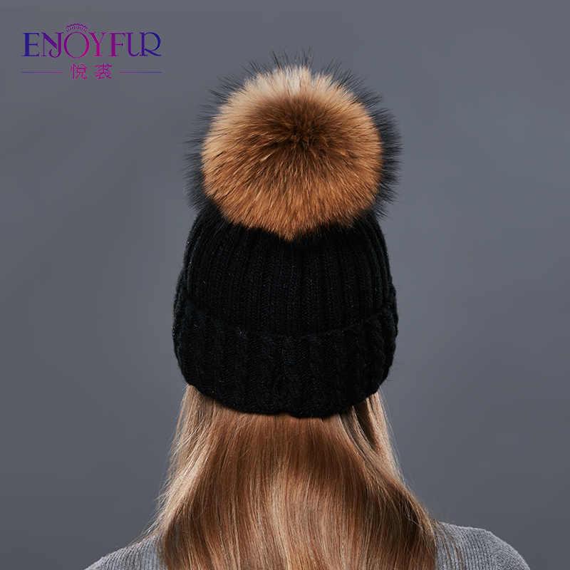ENJOYFUR Chapéu Feito Malha De Lã Para As Mulheres Reais Raccoon Fur Pompom Caps Boa Qualidade Chapéus das Mulheres Quentes de Espessura Para O Outono gorros de inverno