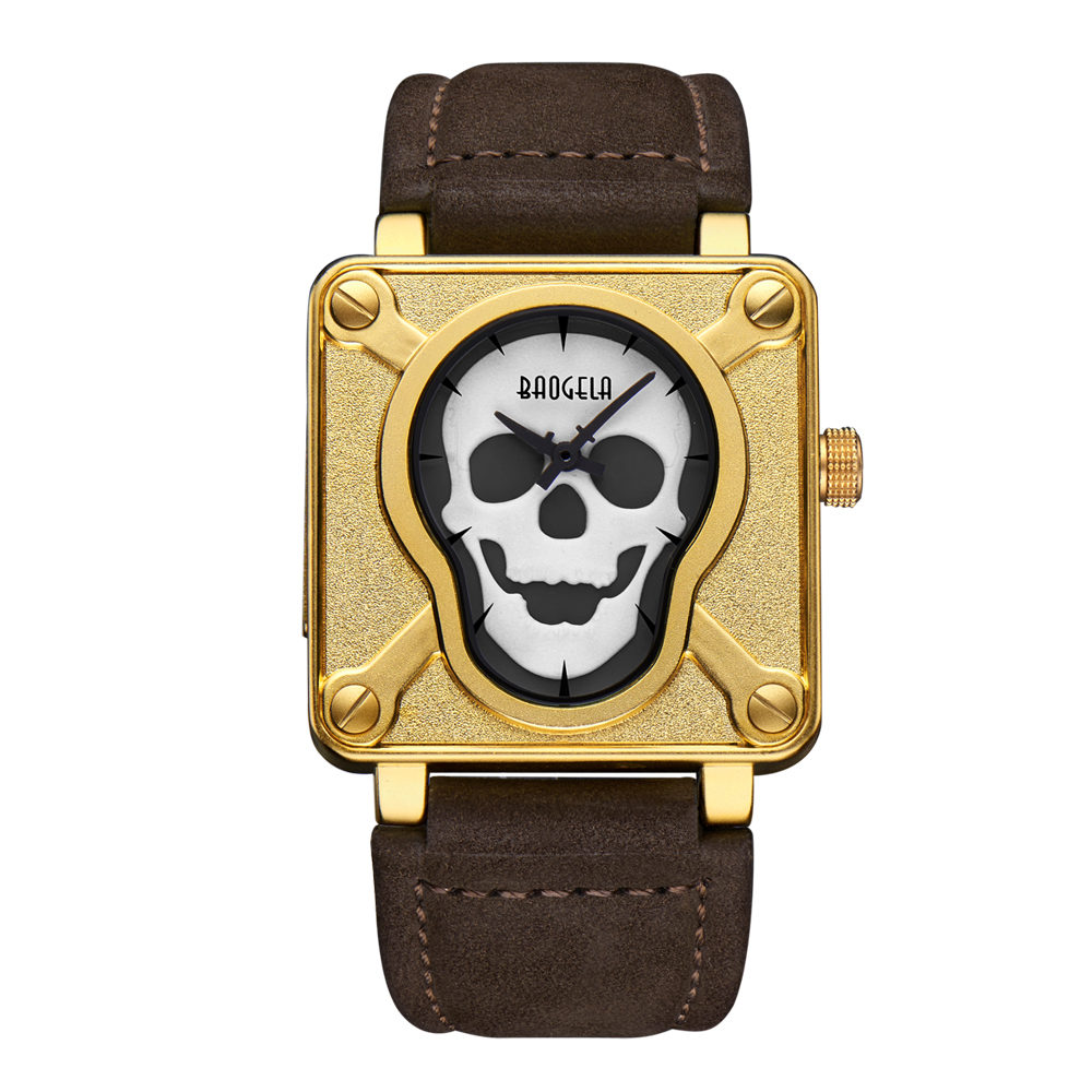 Watches Men Luxury Brand Super Luminous Men Sports Watches Leather Strap Square Dial Skull Male Quartz Wrist Watches Waterproof