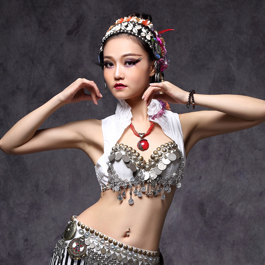 цены New 2018 ATS Belly Dance Clothes Tops Metallic Studs Push Up Beads Gypsy Bra B/C CUP Vintage Coins Top Tribal Belly Dance Bra