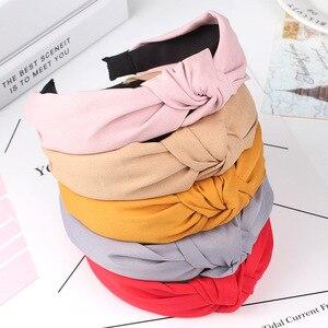 Популярная простая однотонная хлопковая мягкая ткань, бантик, тюрбан, повязка на голову, милые красивые уникальные вечерние повязки на голо...