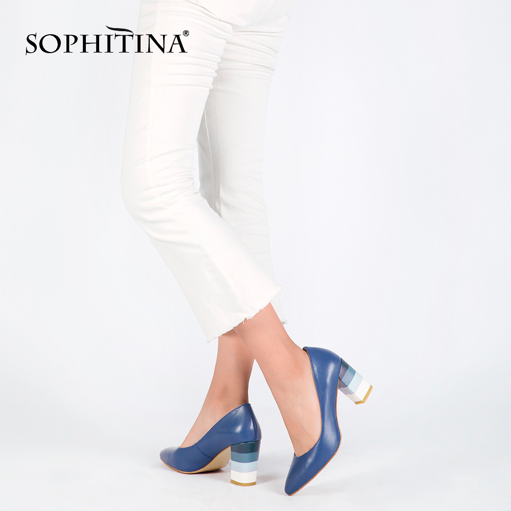 SOPHITINA Genuine Leather Woman Pumps Colorful Square Heels High Quality Sheepskin Sexy Pointed Toe Shoes Party Office Lady D24-in Women's Pumps from Shoes    2