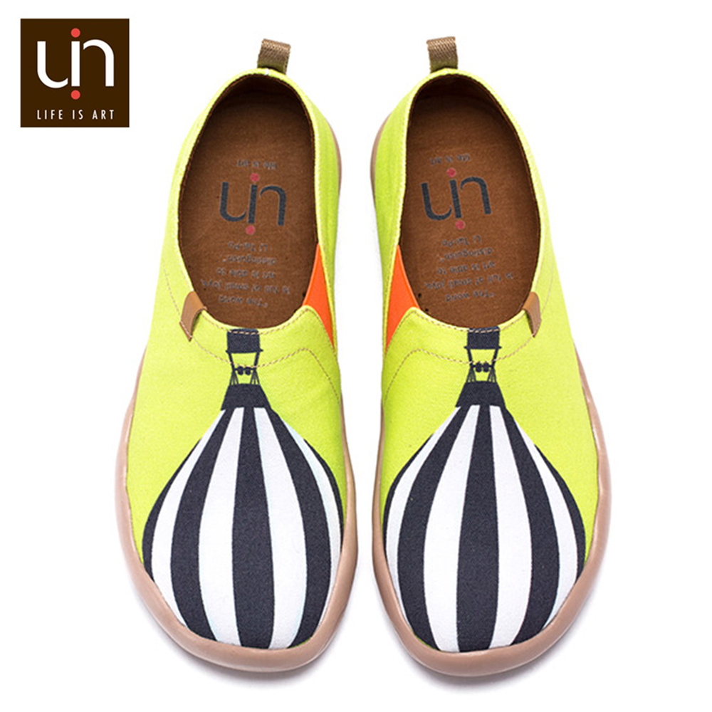 UIN With Wind Design Soft Casual Flats for Woman Slip-on Canvas Loafers Breathable Outdoor Ladies Walking Shoes