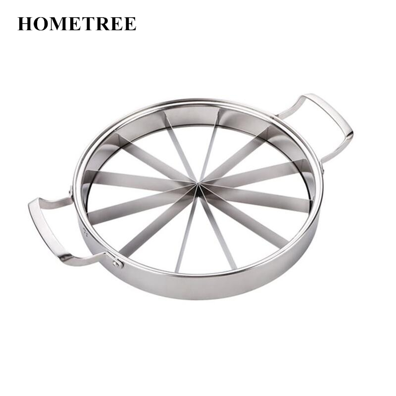 HOMETREE Thicker Stainless Steel Watermelon Slicer Cantaloupe Cutting Seeder Slicer Kitchen Tool Corer Melon Cut Fruit
