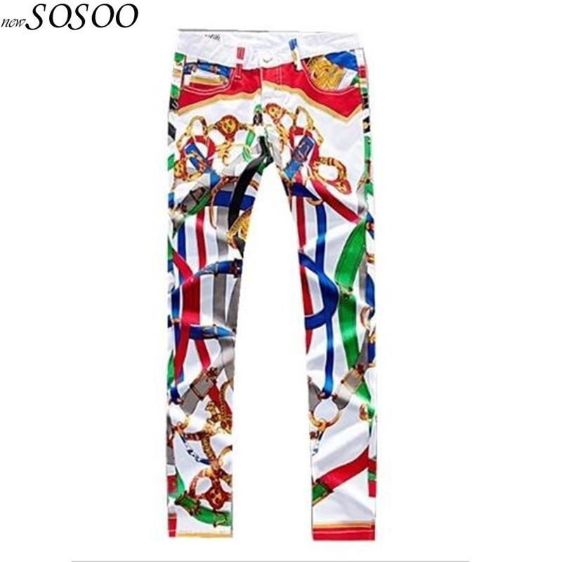 Nouveaux jeunes hommes jeans pantalon hombre jean Couleur imprimé Skinny jeans conception de boîtes de nuit chanteurs mince pantalon L008-4