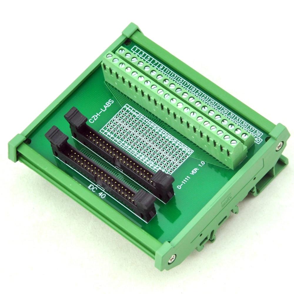 DIN Rail Mount IDC-40 2x20pins 2.0mm Dual Male Header Interface Module.DIN Rail Mount IDC-40 2x20pins 2.0mm Dual Male Header Interface Module.