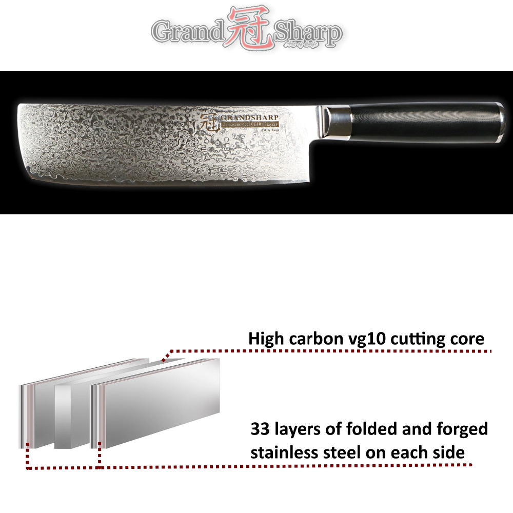 Damascus Nakiri Knife Japanese Steel Chef Slicing Vegetable Kitchen Knife G10 Handle Cooking Tools 67 layer vg10 Sharp Stainless