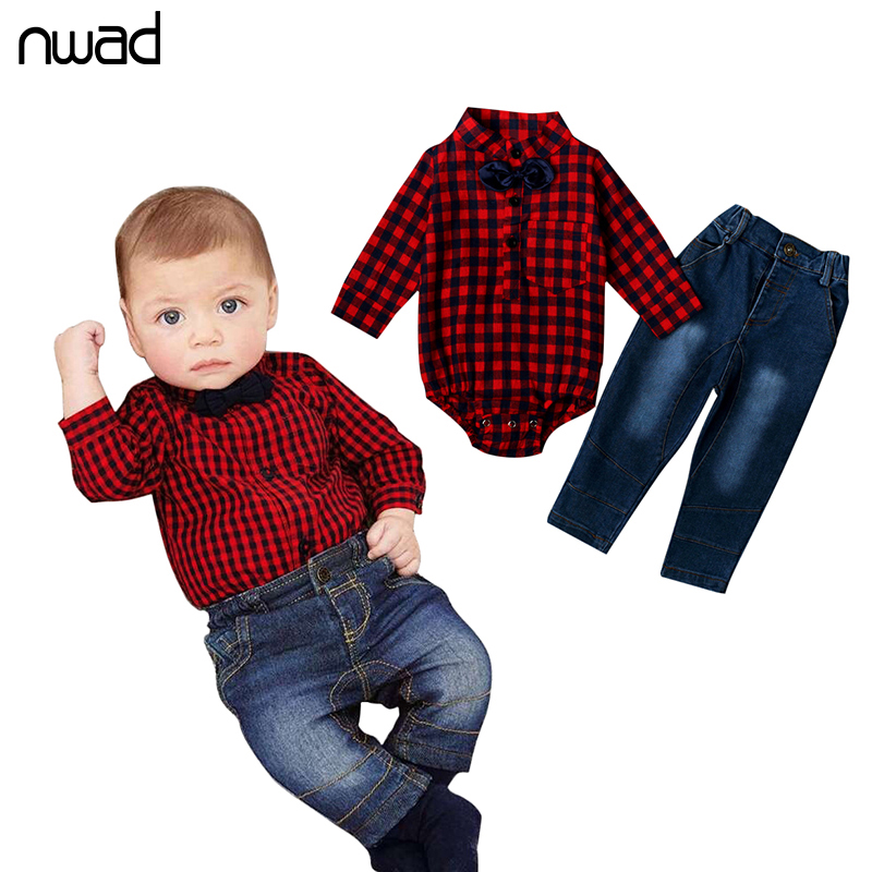 2017 Brand Baby Boy Plaid Clothing Suits Fashion Gentleman Clothes Set For Newborn Baby Bow Tie Bodysuit +Denim Pants FF186 kids clothing set plaid shirt with grey vest gentleman baby clothes with bow and casual pants 3pcs set for newborn clothes