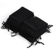 100 шт 7x9 см Бархатный шнурок мешок ювелирных изделий, выходные год День рождения Рождество Свадьба мешочек для подарков