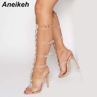 Aneikeh Sexy High heeled Sandals Boots Women Transparent Buckle Strap Gladiator Sandals Summer Peep Toe Diamonds Wedding Boots
