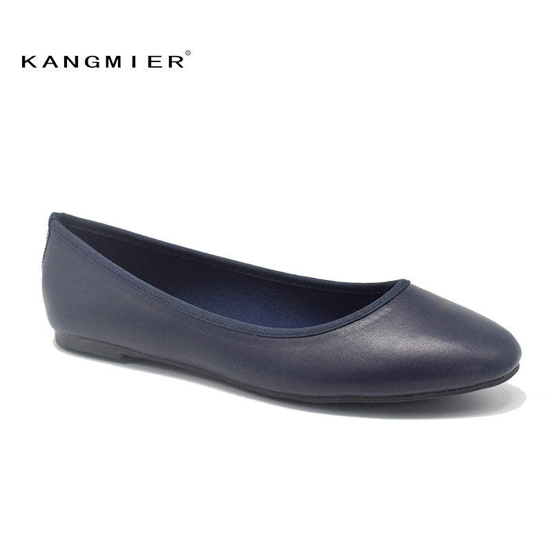 Shoes Women navy PU leather ballet Ballerina Flats Round toe KANGMIER 2017 black spring autumn flat shoes woman women canvas shoes embroidered ballet flats women spring loafers women ballerina flat shoes vintage single mother casual shoes