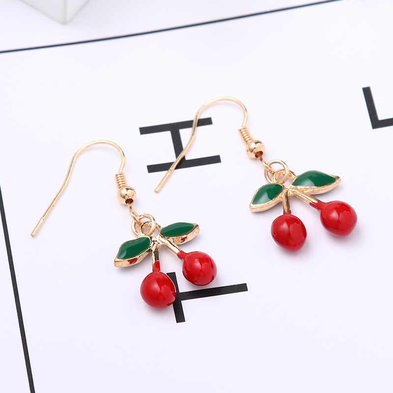 Suki Enamel Lucu Indah Drop Anting-Anting Strawberry Pine Apple Cherry Kiwi Orange Apple Fruit Charm Penadant Anting-Anting Cantik Hadiah