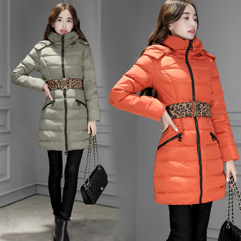 2017 Winter fashion new long section Slim was thin down jacket women 90 velvet hood twill Korean warmth 2014 winter new top 90 european stations velvet waist slim flouncing long section of a large swing down