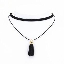 2016 hot new torques bijoux plain black velvet ribbon tassel statement necklace pendant maxi multilayer chokers.jpg 250x250