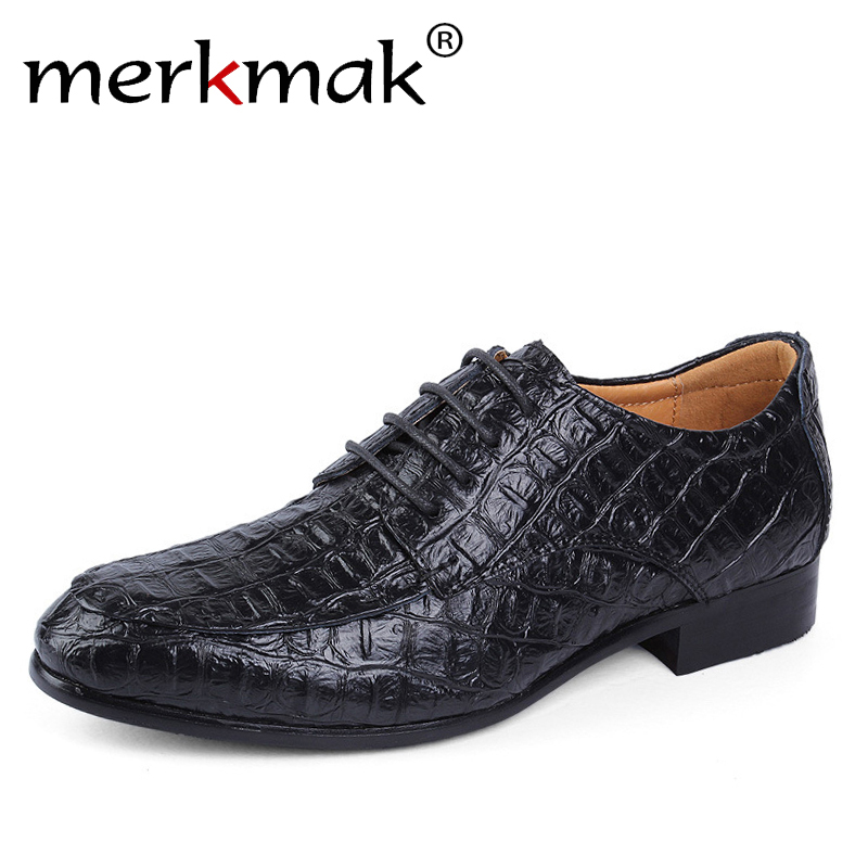 Merkmak Brand Genuine Leather Oxford Shoes For Men Business Men Crocodile Shoes Men's Dress Shoes Plus Size Wedding Shoes Man men s shoes business dress genuine leather evening dress flat shoes brand luxry oxford men loafers wedding leather shoes