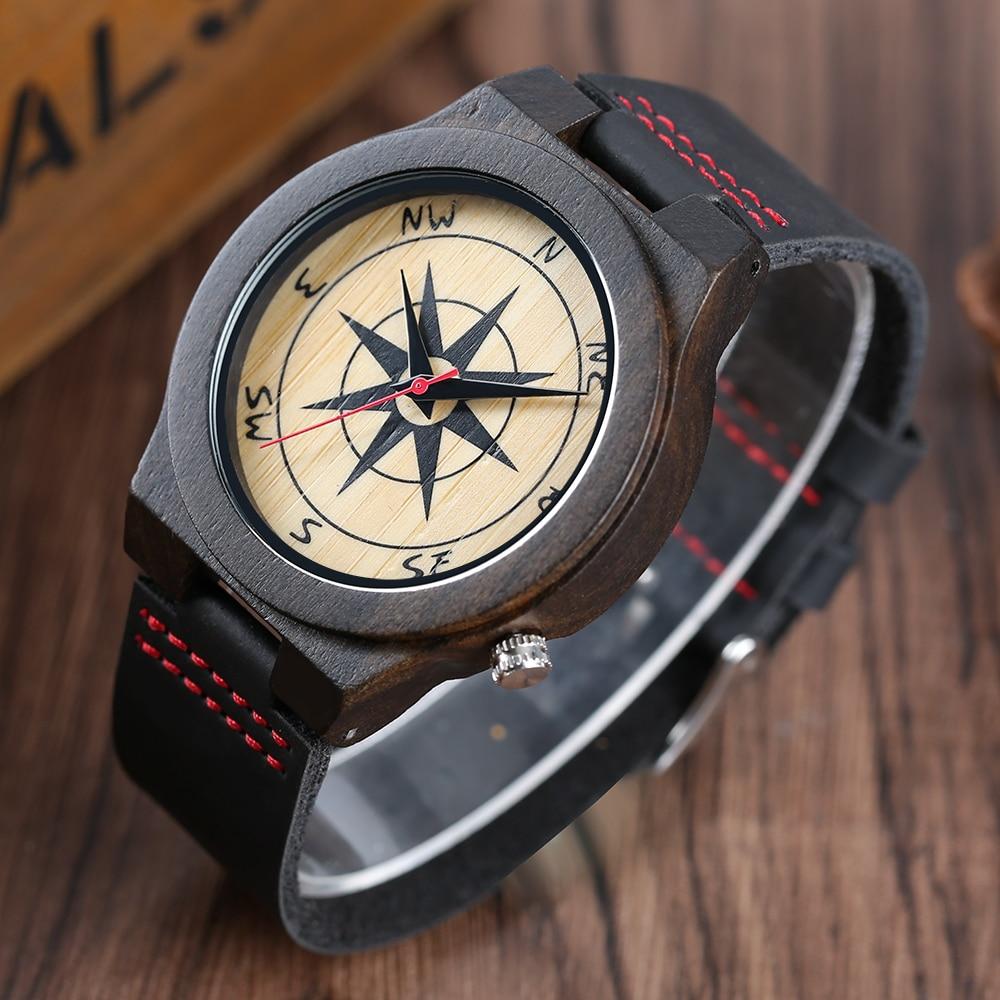 Pánská móda černá dřevěná hodinka Creative Compass ciferník - Pánské hodinky
