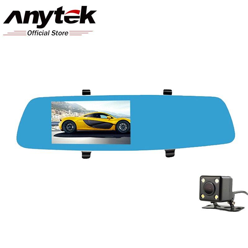 Anytek T10 WDR Dual Lens Car DVR Camera Car Video Recorder Rearview Mirror Dashcam 1080P G-Sensor Car Black Box Car Registrator автомобильный видеорегистратор anytek at66a 2 7 hd g wdr gps novatek96650 dashcam dvr gps