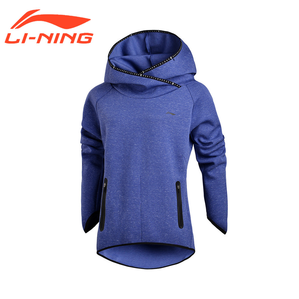 Li-Ning Women Training Exercise Sweaters Cotton Polyester Hoodie LiNing Winter Sports Sweater Tops Clothes AWDM656