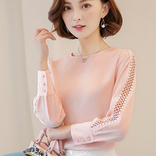 2017 Spring Women Chiffon Blouse Long Sleeve Lace Shirt Hollow Out Blouses Tops Summer Sexy Slim Solid Blusa de Renda Feminina(China)