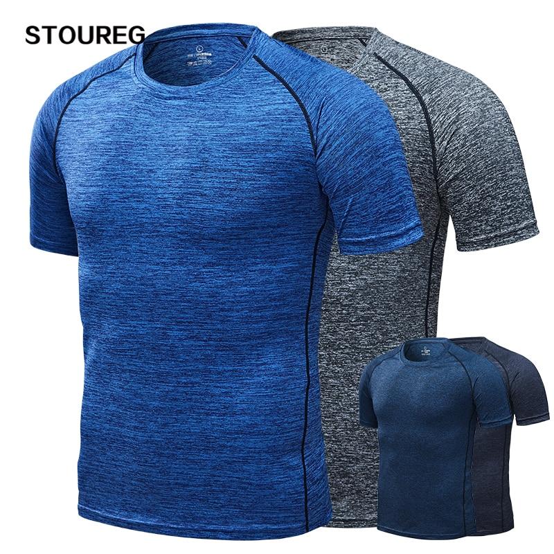 Hızlı kuru erkek koşu t-shirt, sıkıştırma spor t-shirt, spor salonu tee, erkek futbol forması spor