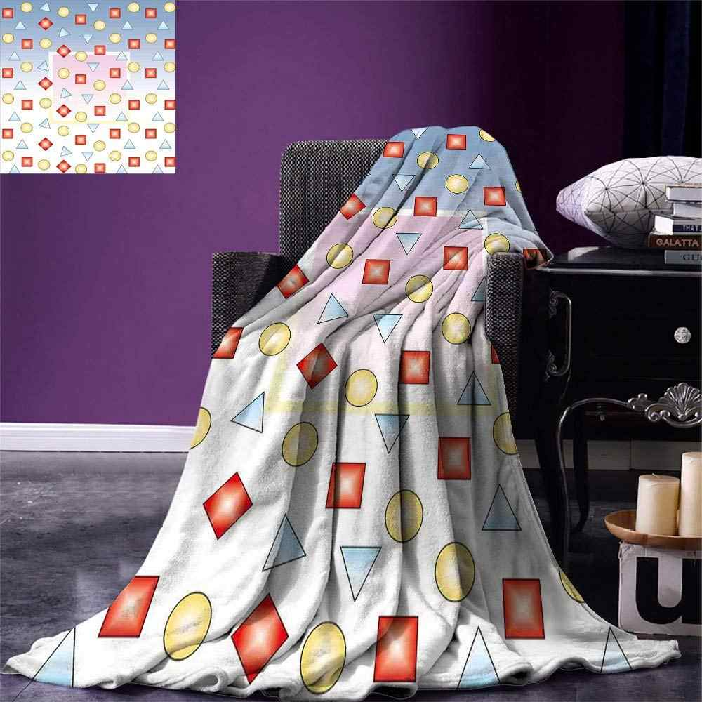 Modern Throw Big Square on Background of Several Geometric Shapes Angle Lines Graphic Artwork Warm Microfiber Blanket