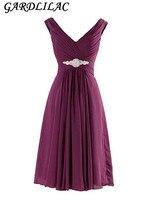 Gardlilac Cheap Bridesmaid Dress Short Formal Party Gowns V neck Crystals Chiffon Bridesmaid Gown Robe De Soiree
