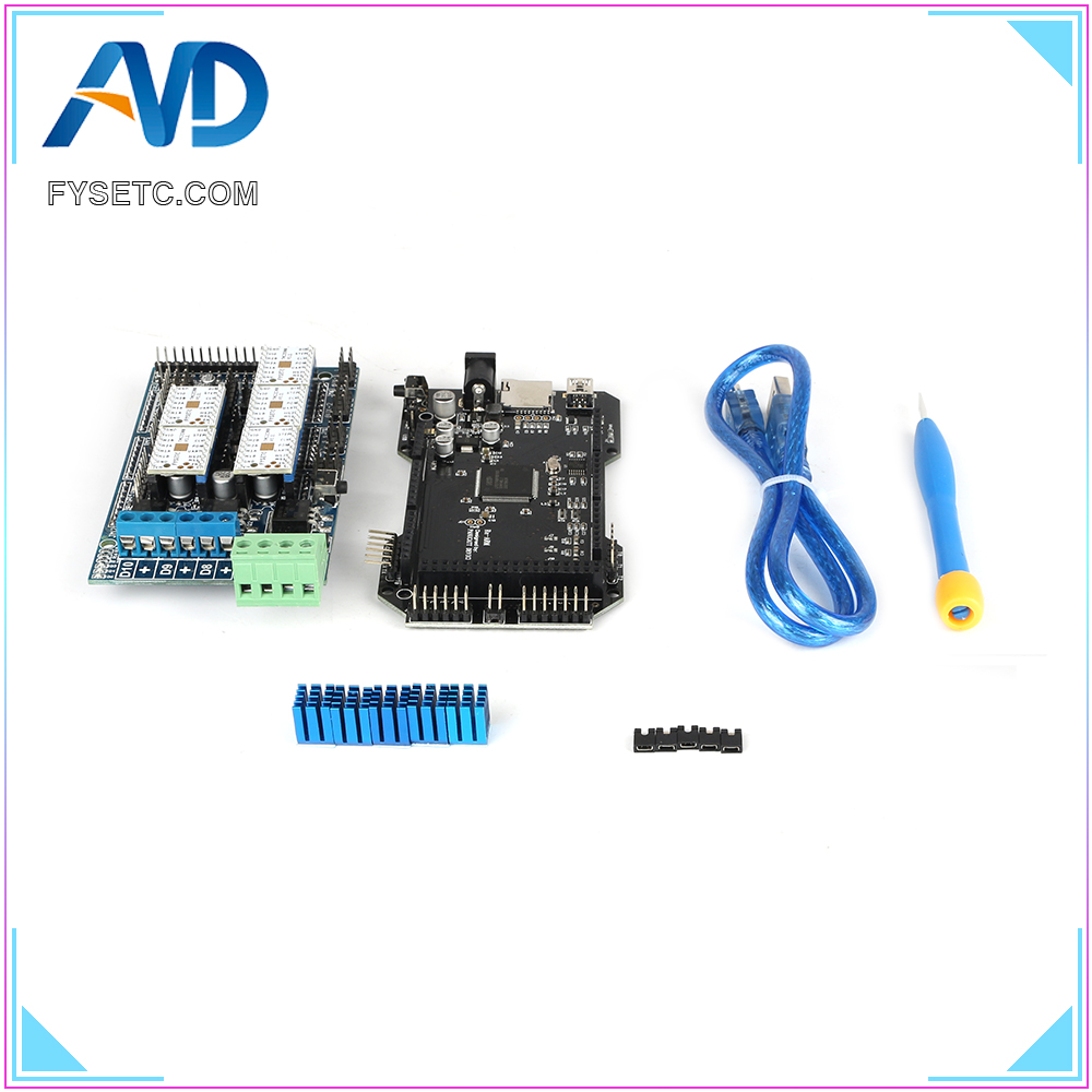 Imprimante 3D pièces RE-ARM carte de contrôle 32 bits mise à niveau Mega 2560 R3 + rampes 1.5 panneau de commande + 5pcs TMC2208 V1.2 UART moteur pilote - 3