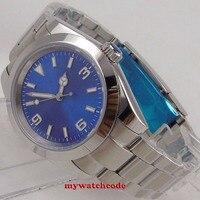 40mm bliger estéril azul dial caso sólido vidro safira relógio automático masculino b155