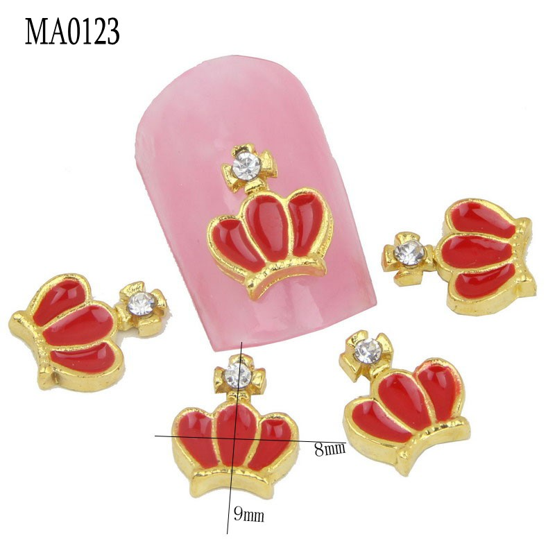 10pc/bag Unique 3D Metal Nail Art Decorations Gold Crown Horse Tortoise Charm Nail Cell Phone Decoration DIY Beauty Salon Supply