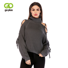 GOPLUS 2019 Spring Turtleneck Knitted Sweater Women Sexy Off shoulder Long Sleeve Sweater Lady Befree Casual Pullover Female Top джемпер befree befree mp002xw1hy6m