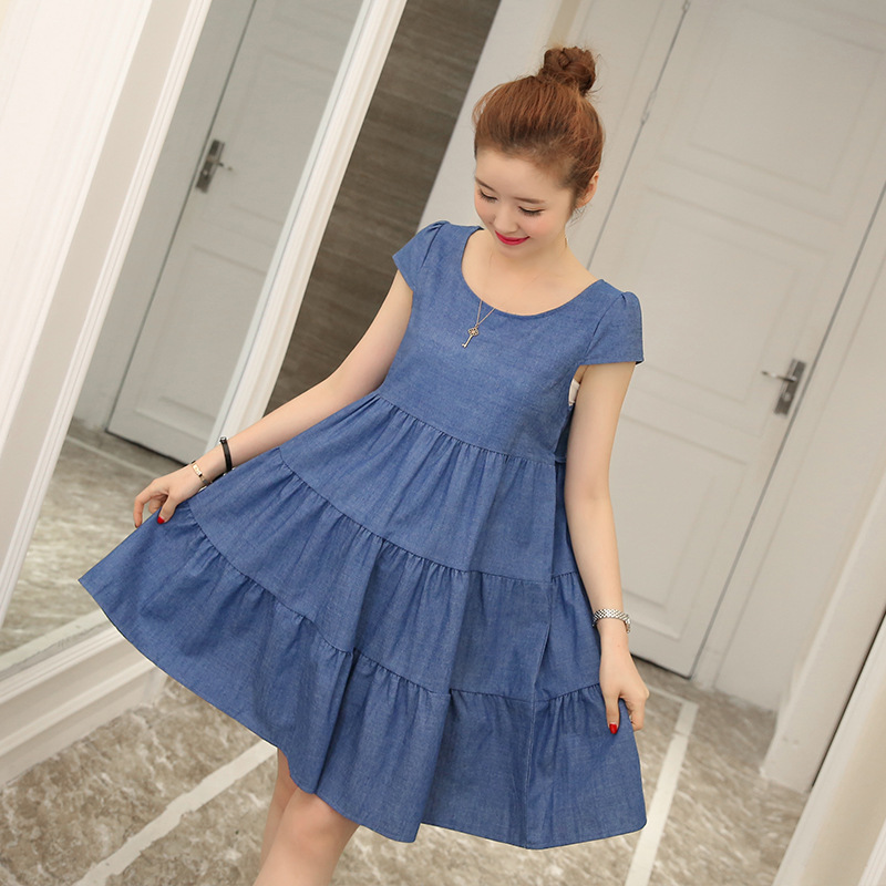 BONJEAN Fashion Summer Maternity Dress Denim Short Sleeve Boat Neck Causal Maternity Dress Loose Dress For Pregnant Women jd коллекция светло телесный 12 пар носков 15d две кости размер