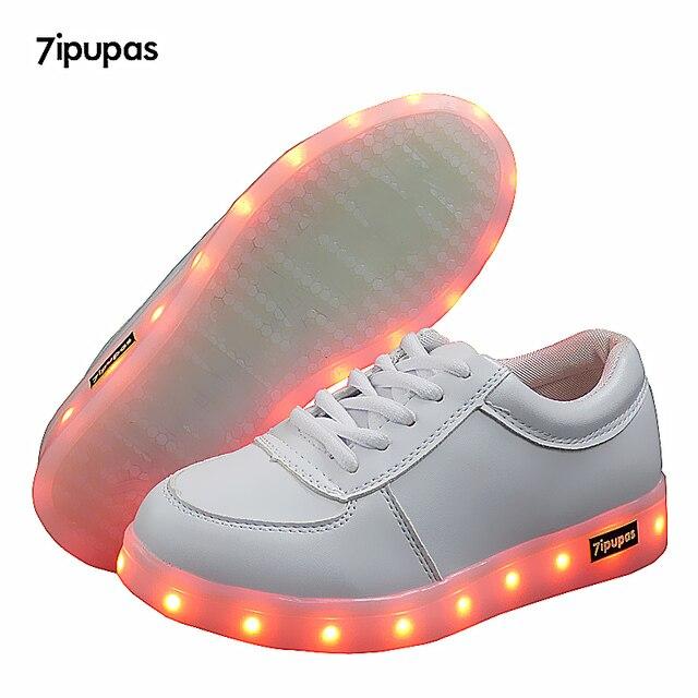 c42a3dc104c9a 7 ipupas Jeune Blanc USB Chargeur Lumineux Chaussures Garçon et Fille Baskets  Lumineuses Enfants chaussures Led