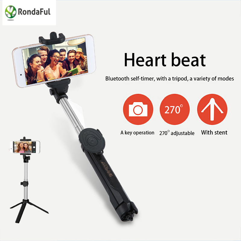 Rondaful for GoPro HD Camera Bluetooth Selfie Stick Tripod Monopod Remote Shutter Extendable Monopod Selfie Stick for iphone 6 7