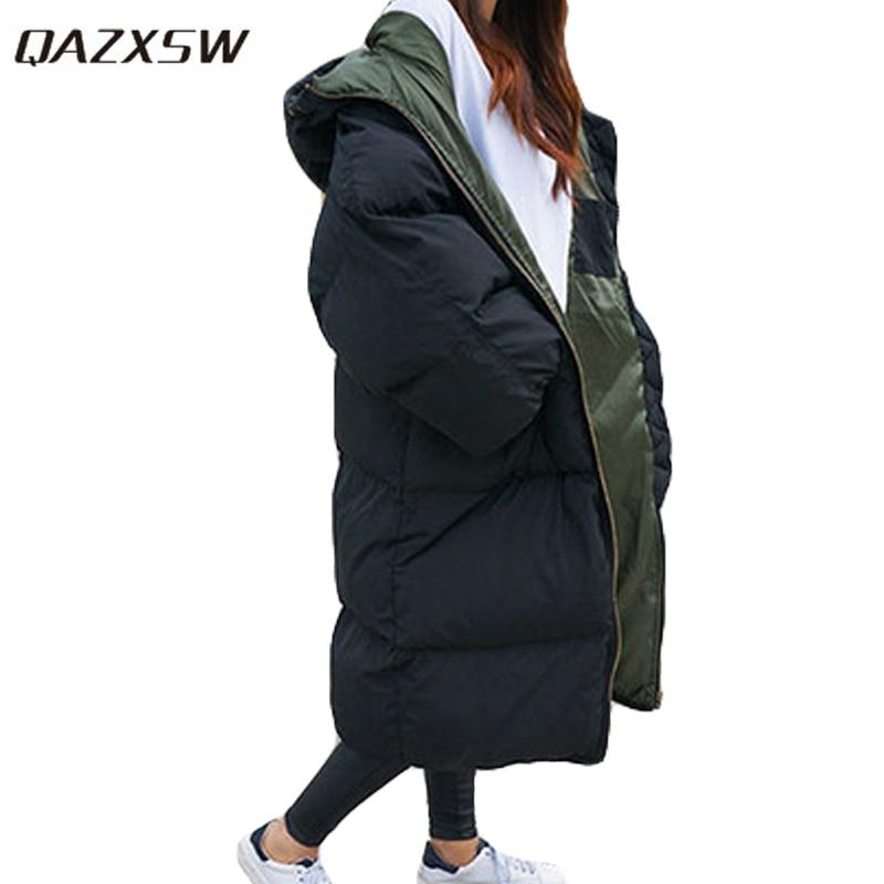 QAZXSW 2019 New Korean Cotton Coat Women Long Parkas Plus Size Ladies Warm Padded Jacket Loose Thick Winter Jacket Hooded HB254