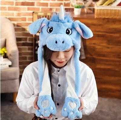 Новинка, Мультяшные шапки с подвижными ушками, милый Игрушечный Кролик, шапка с подушкой безопасности, Kawaii, забавная шапка для девочек, детская плюшевая игрушка, рождественский подарок - Цвет: Blue U