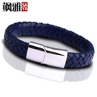 Vintage Style 1pcs Handmade Genuine Leather Man's Bracelets Black/Navy Two Colors With Stainless Steel Clasp Free Shipping