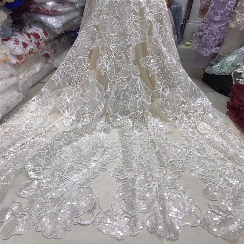 Nigerian White Embroidery Lace Wedding Dress Fabrics French Bridal Tulle Lace High Quality Sequin African Lace Fabric X1177-1
