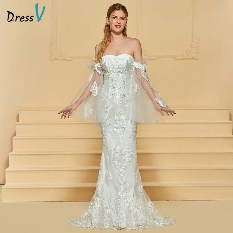 Dressv Ivory Wedding Dress Strapless Long Sleeves Chapel: Dressv Long Ivory Wedding Dress Strapless Long Sleeves