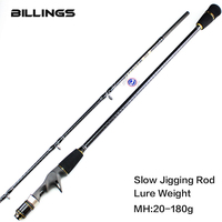 BILLINGS 1.95m MH Slow Jigging Rod 1 Section L.W. 20 180g Drag Power 8Kg Ultra Light Saltwater jig Fishing rods Casting Rod