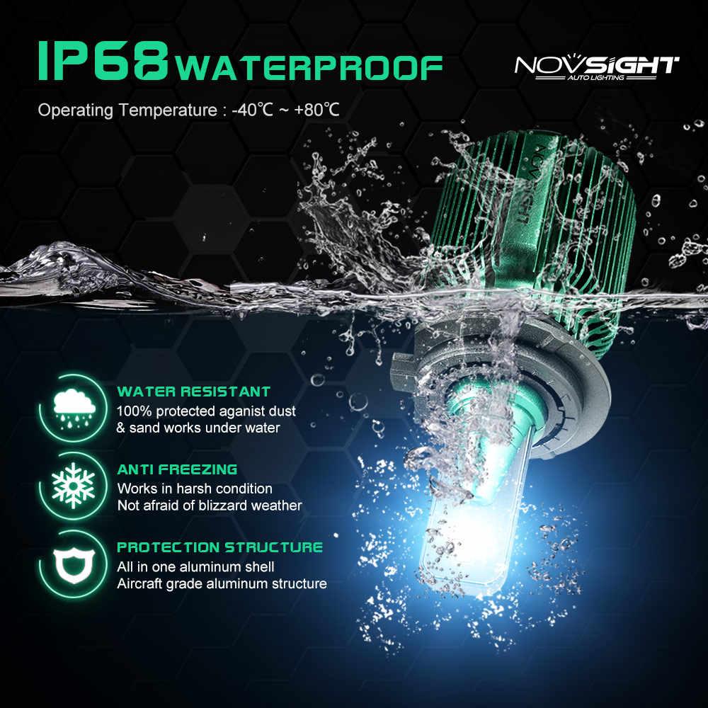 NOVSIGHT 2pcs turbo led car light h4 h7 h11 h8 led bulb 6500k 12v 24v 10000lm IP68 waterproof super led car headlight bulbs