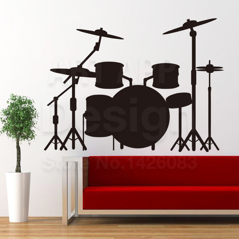 Art new design house decor cheap vinyl drum set wall for New home decoration items