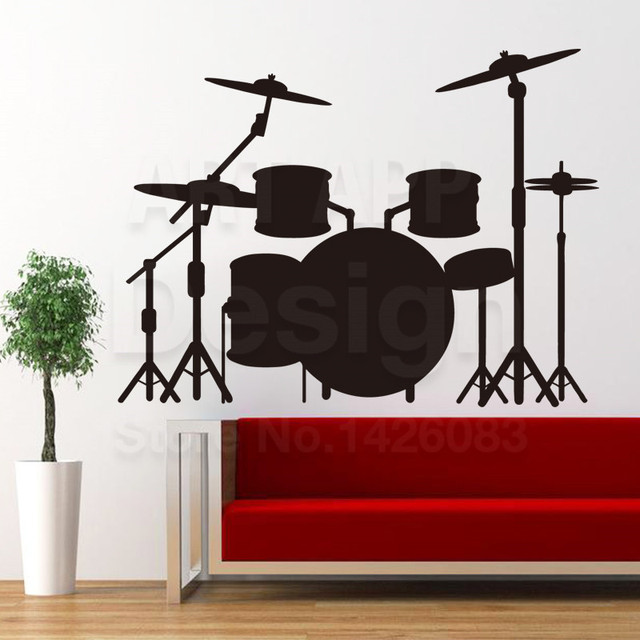 Art New Design House Decor Cheap Vinyl Drum Set Wall Decals Colorful Home  Decoration PVC Drum