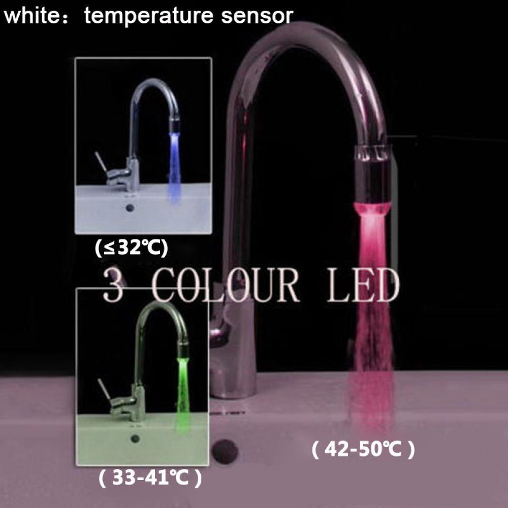 1pc Led Tap Light Temperature Sensor No Battery Water
